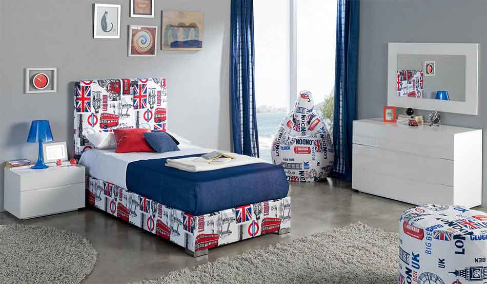 london pattern single kids bed with silver legs, single kids high bed, psilo krevati me motivo londino kai asimenia podia mono krevati,
