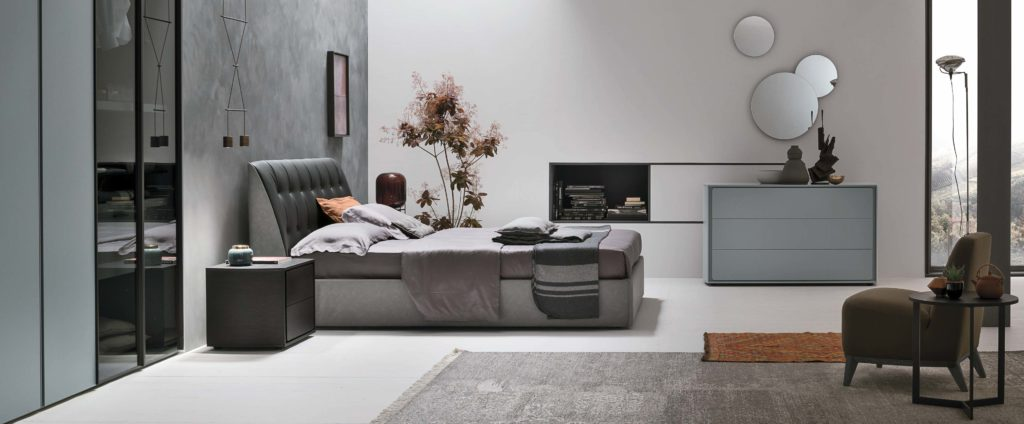 grey leather and fabric bed, modern grey bed, high headboard with small legs bed, dermatini kefalaria krevatiou, kids bed,