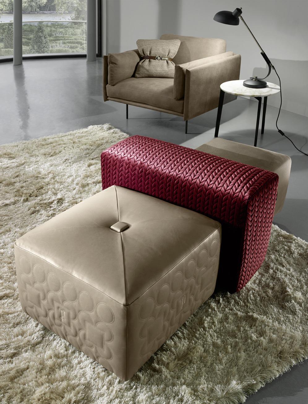 luxury pouf, stylish and modern seat, skampo mpez dermatino, stool dermatino monterno, luxury seat,