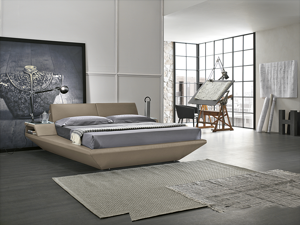 beige leather bed with sides, connected leather beige bed with headboard, krevati enomeno me trapezaki, kingsize bed, 2.20cm, leather comfy bed, modern and stylish bed,