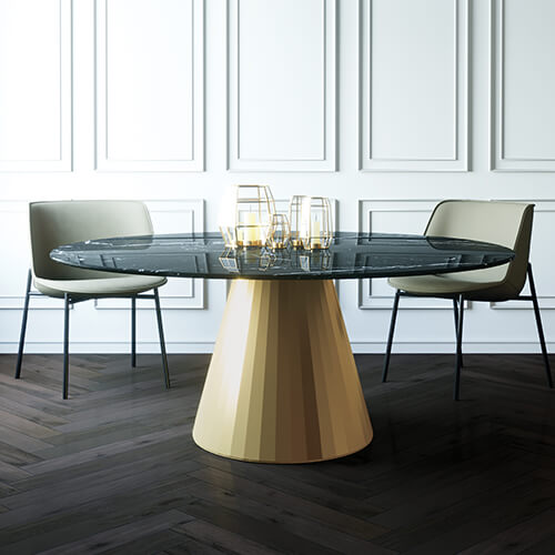 Dimco Dining Table with chairs. Modern Design Gold base.
