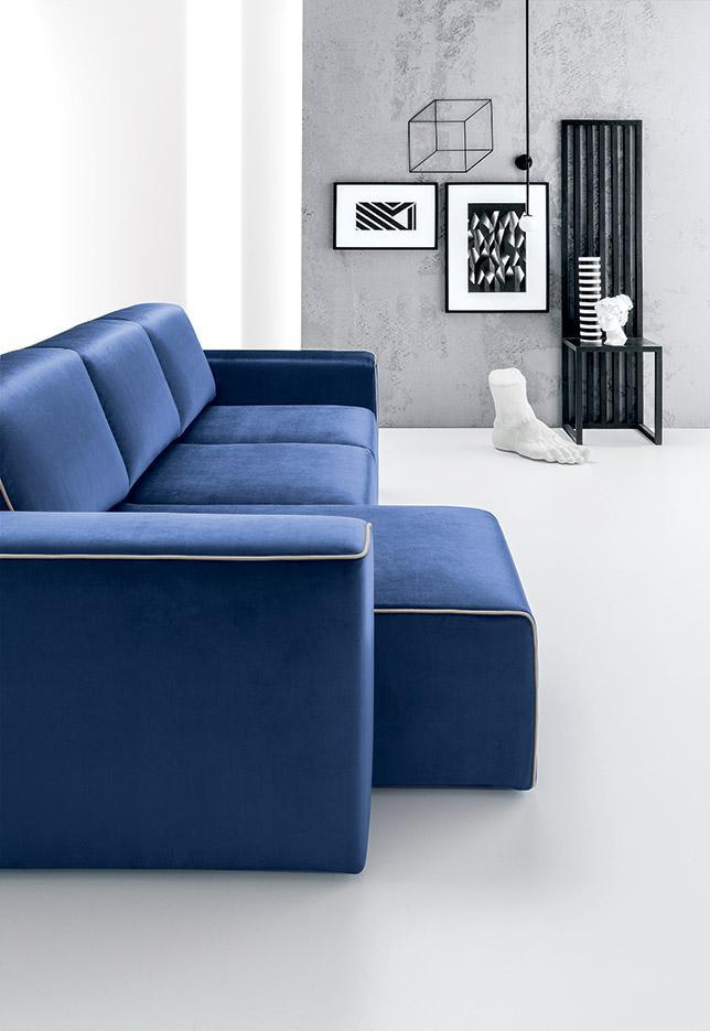 blue velvet sofa with chaise long, kanapes me xaploti polithrona, kanapes anetos xoris podia, low comfy sofa blue velvet with no legs