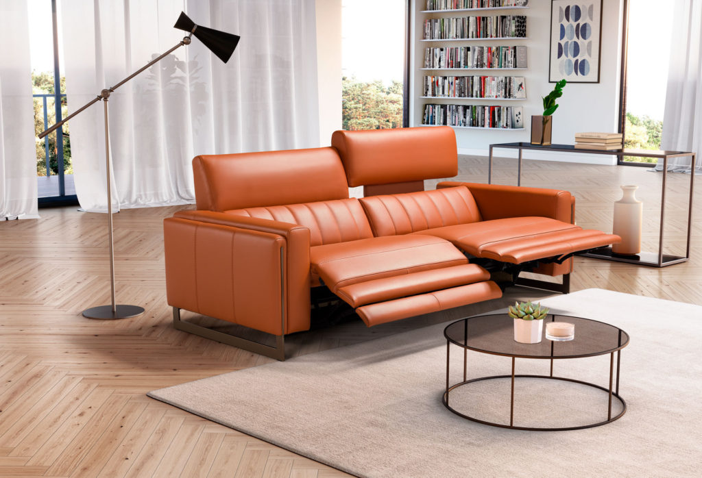 orange sofa with wooden legs with adjustable leg seats and neck ,