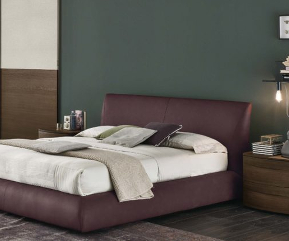 dark color leather bed, 1.80cm, 200cm, simple and modern low bed