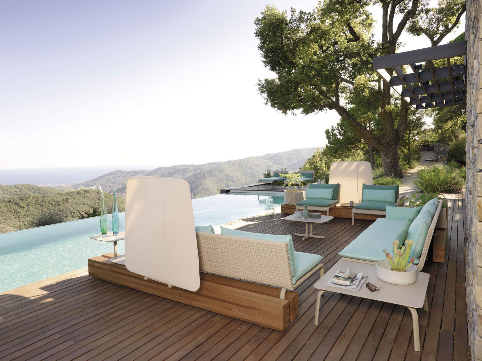 wooden modern sofa set for outdoor use, xilino me alouminio exoterikou xorou setaki, xilines polithrones me kanape exoterikou xorou, outdoor furniture, outdoor coffee and side tables,