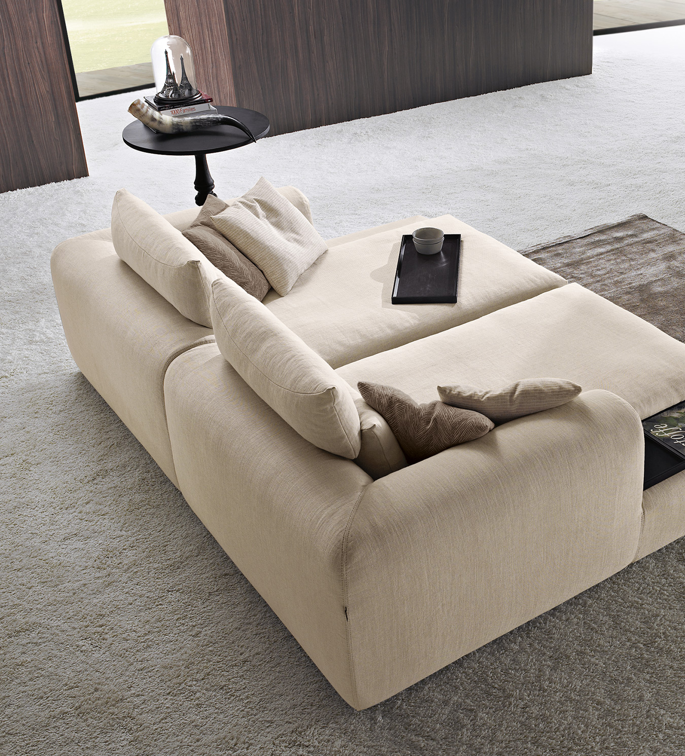 comfy sofa bed, beige fabric sofa that is bed, wide sofa for playroom, platis kananapes krevati, kanapes krevati xoris podia, chaise long sofa fabric, kanapes ifasmatinos mpez megalos se vathos,