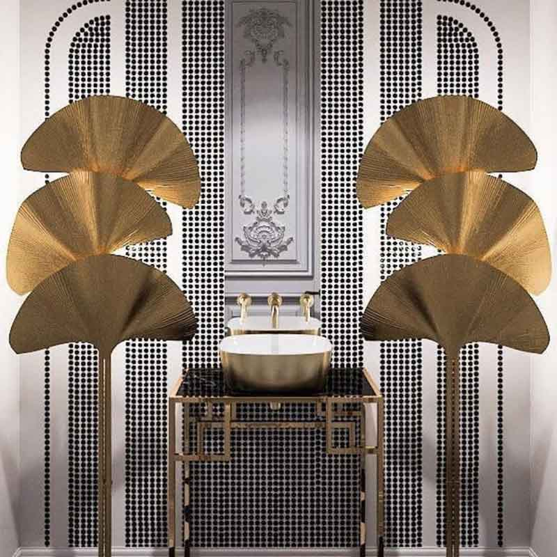 gold installations for the toilet, gold leaves tropical vibe, mavro stand with gold stylish patterned legs,