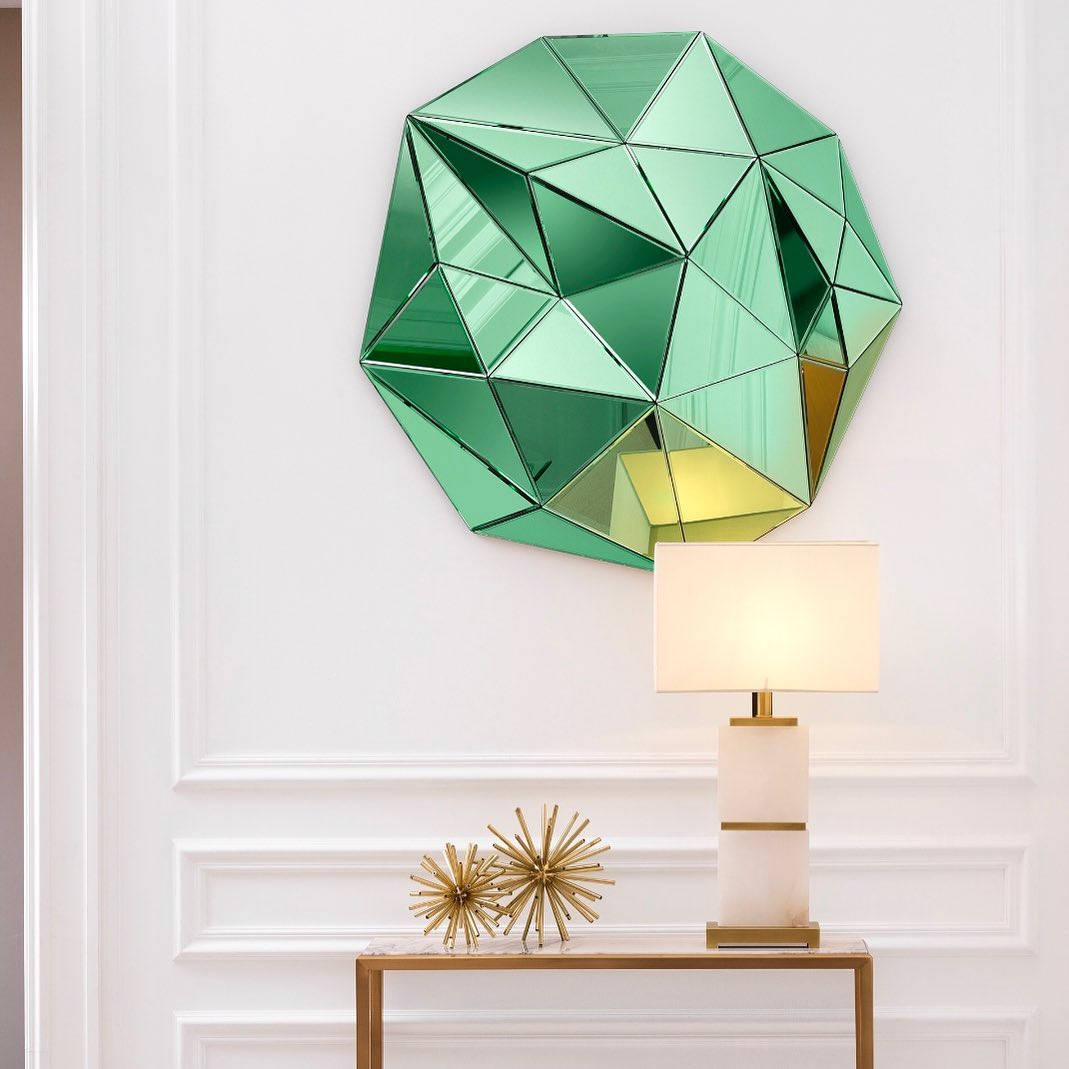 green extreme mirror, table lamp gold, accessories gold, wooden small console, konsola xilini mikri, prasinos kathreftis paraxenos,