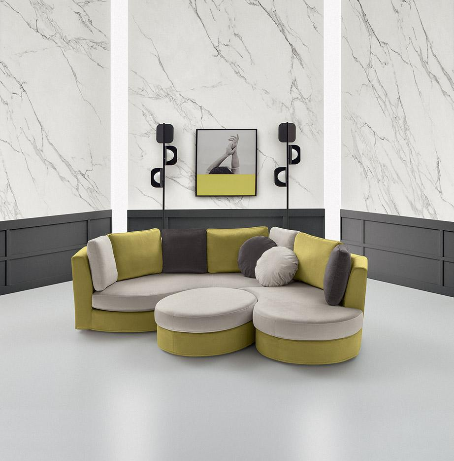 circular velvet sofa colorful, yellow grey and dark grey velvet sofa with its connected velvet puff, circular sofa and puff, stroggilos kanapes me to diko tou enomeno skampo, anetos, entiposiakos kai monternos,