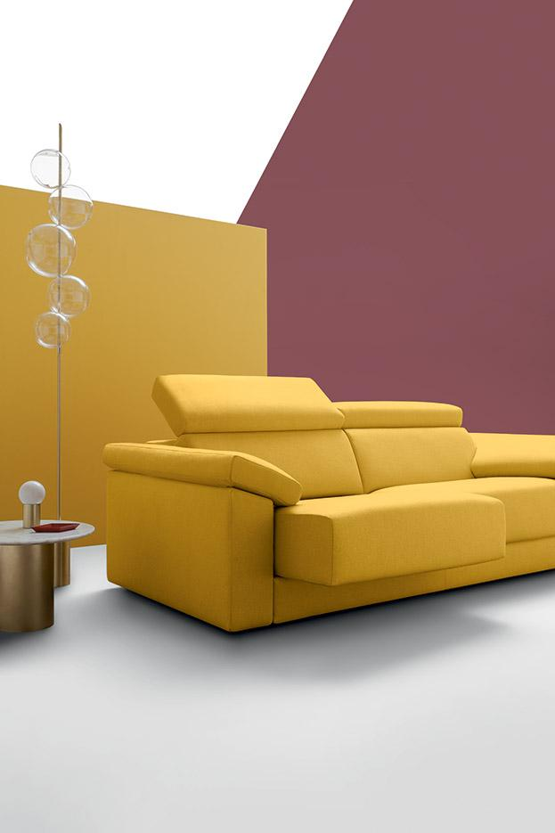 yellow leather sofa with no legs, adjustable seat and neck, real faux imitation leather sofa, paralimni, lefkosia, free delivery, indoor leather sofa,