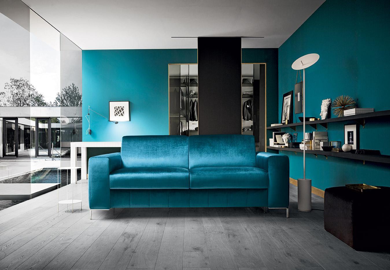2 seater blue velvet sofa with silver modern legs, floor lamp, turquoise velvet high quality fabric sofa, ditheseos kanapes veloudinos me asimenia podia, ipsilis poiotitas kanapes veloudos mple,