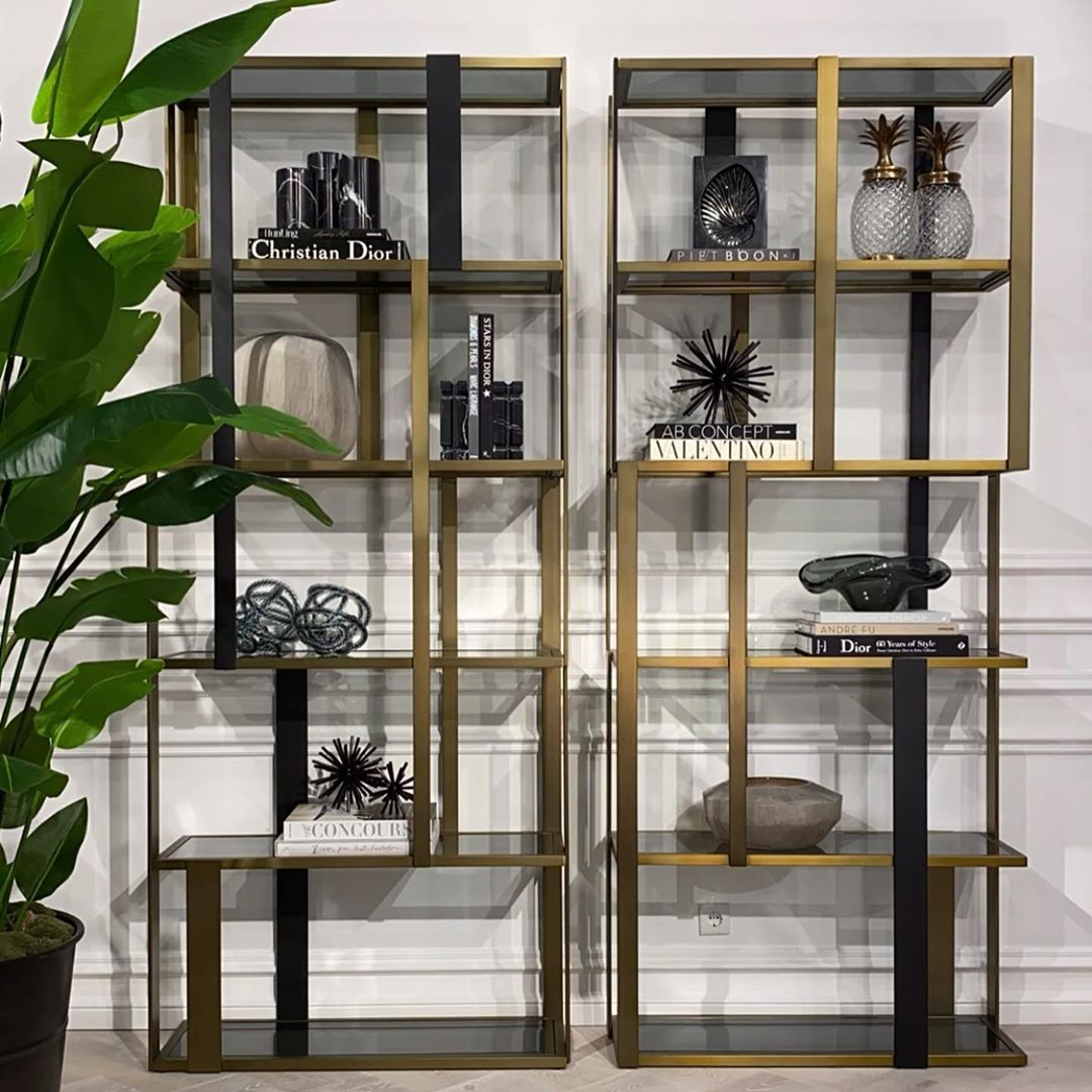 gold and black finish bookcase with elegance and extraordinary, high designer bookcase, xriso mavri vivliothiki me extere design,
