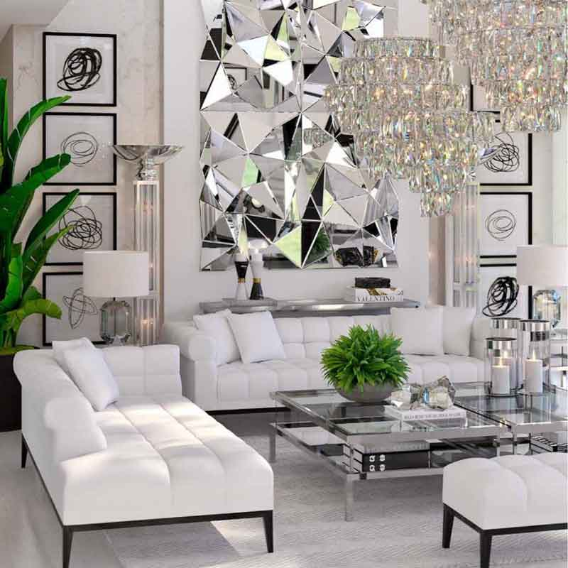 wide comfy white sofas with black legs, extraordinary mirror, silver living set, luxury living set, asimenies leptomeries se diakosmitika ,
