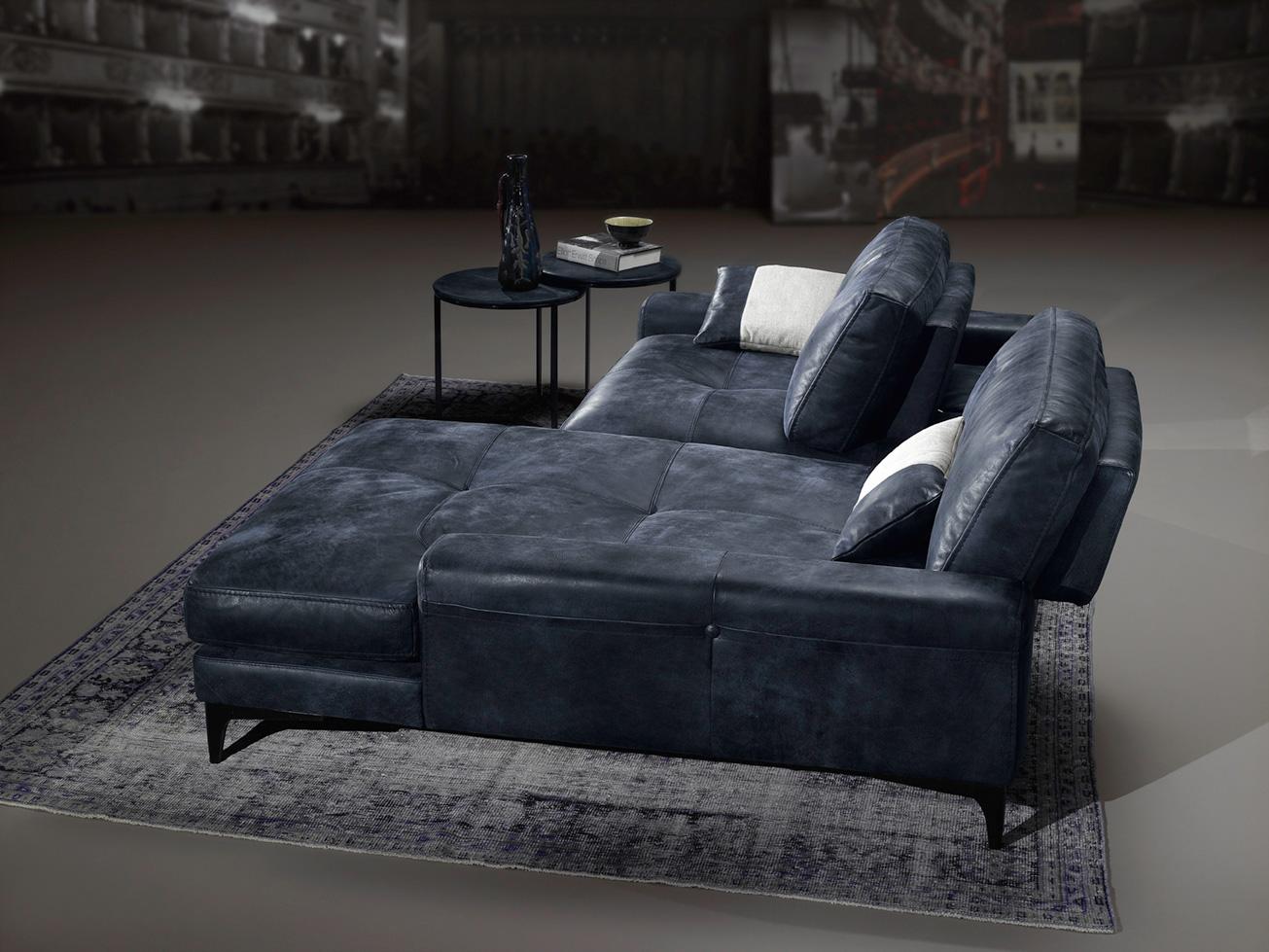 leather sofa chaise long, polithrona krevati, mikros kanapes gia mikro xoro, small size sofa for small space, mple dermatinos kanapes me mavra podia, blue real leather sofa with black legs,
