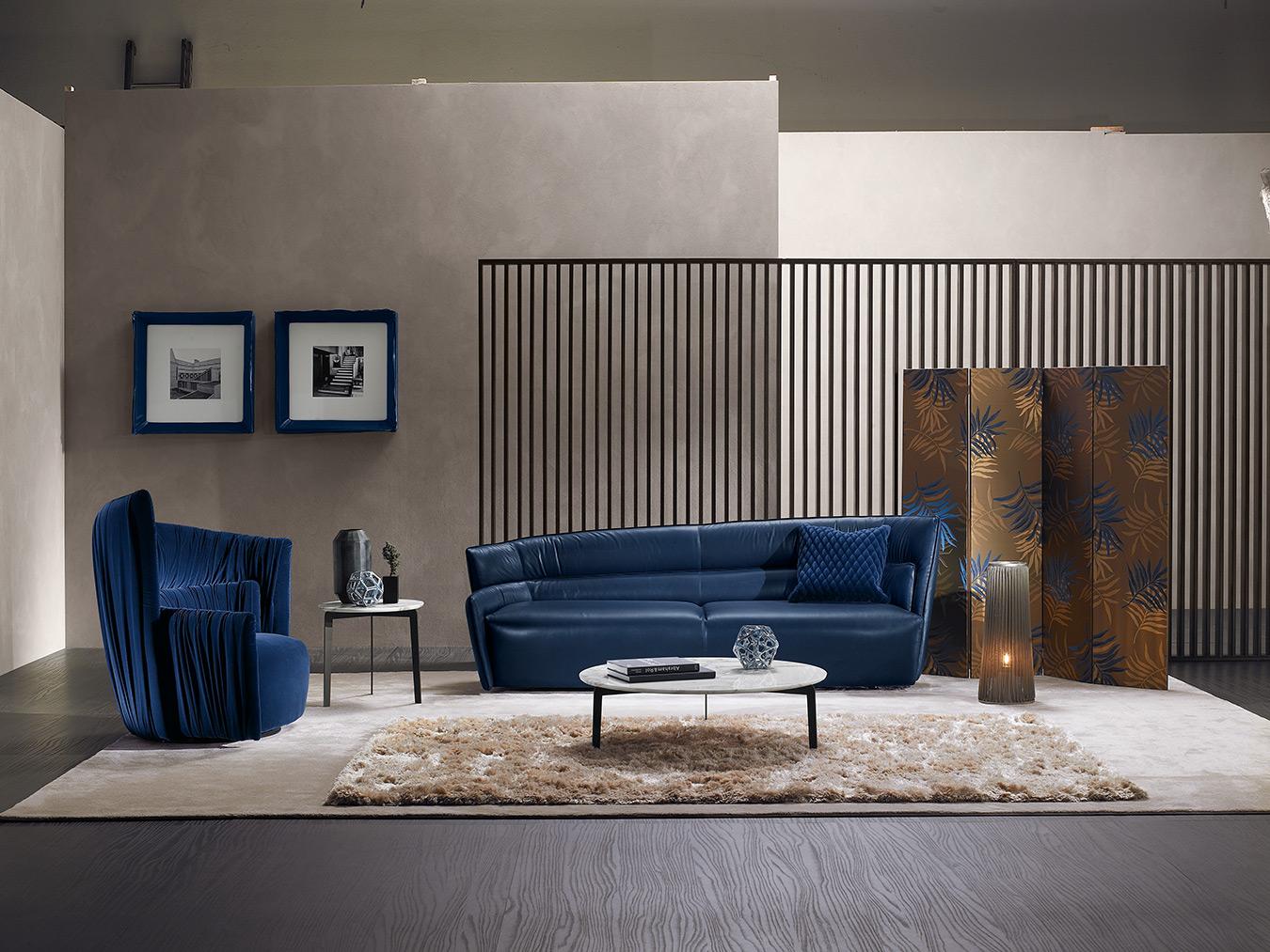 blue leather sofa with extreme design, stylish luxury design 3- seater sofa, tritheseos kanapes mple me tin diki tou mple karekla, blue velvet armchair with blue sofa,