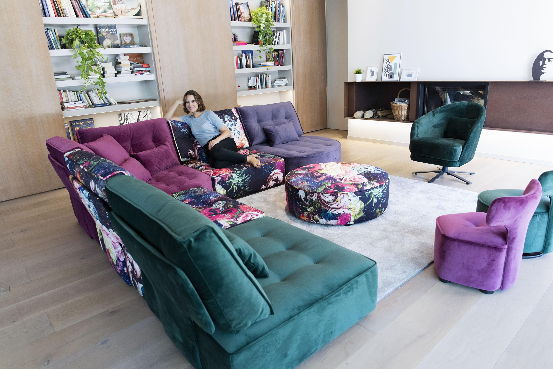 colourful low comfy corner sofa, swing chair colourfull velvet,