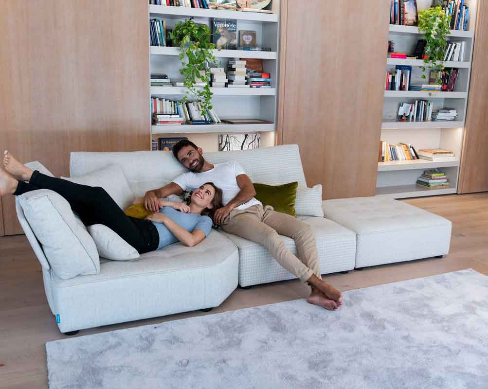 white fabric sofa arriane love sofa, adustable pieces sofa that can be extended to any size, many options to fabric,