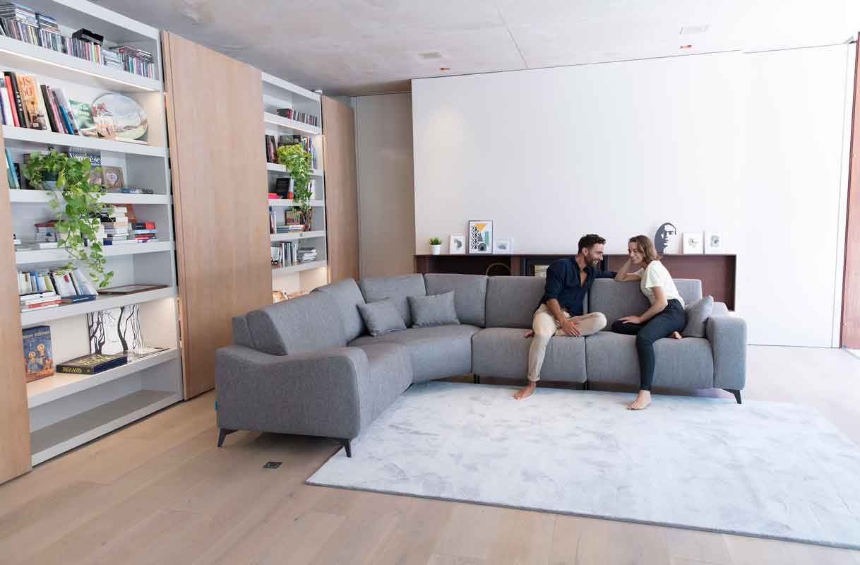 grey corner sofa with black legs, adjustable corner sofa with minimal style, gkrizos ifasmatinos kanapes fama comfy style for ordinary use, all day long use,