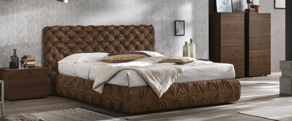capitone double bed,  brown capitone bed for indoor use, capitone krevati gia esoteriko xoro, capitone krevati mikro kafe