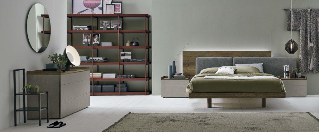 wooden grey fabric high leg bed, modern headboard bed, impressive extreme headboard,