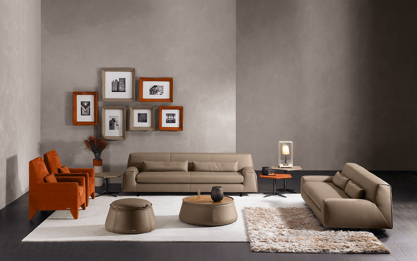 camel leather sofa with black low legs, modern luxury real leather sofa 3-seater, tritheseos kanapes alithino derma me mavra podia, leather table matching with sofa,