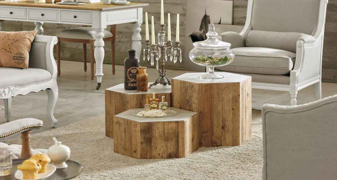 tree coffee table, centre coffee tables in different heights, kormos dentrou trapezakia sto kentro,