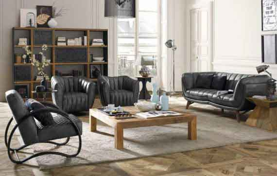 leather 2 seater vintage sofa set with armchair with wooden legs, black leather vintage sofa, wooden centre coffee table,