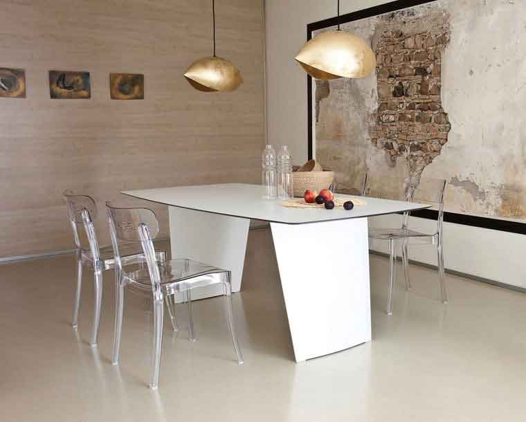 table, modern table, white table, trapezi, chairs, clear chairs, karekles, dining table, kitchen table, andreotti, andreotti furniture, epipla, furniture, limassol, cyprus