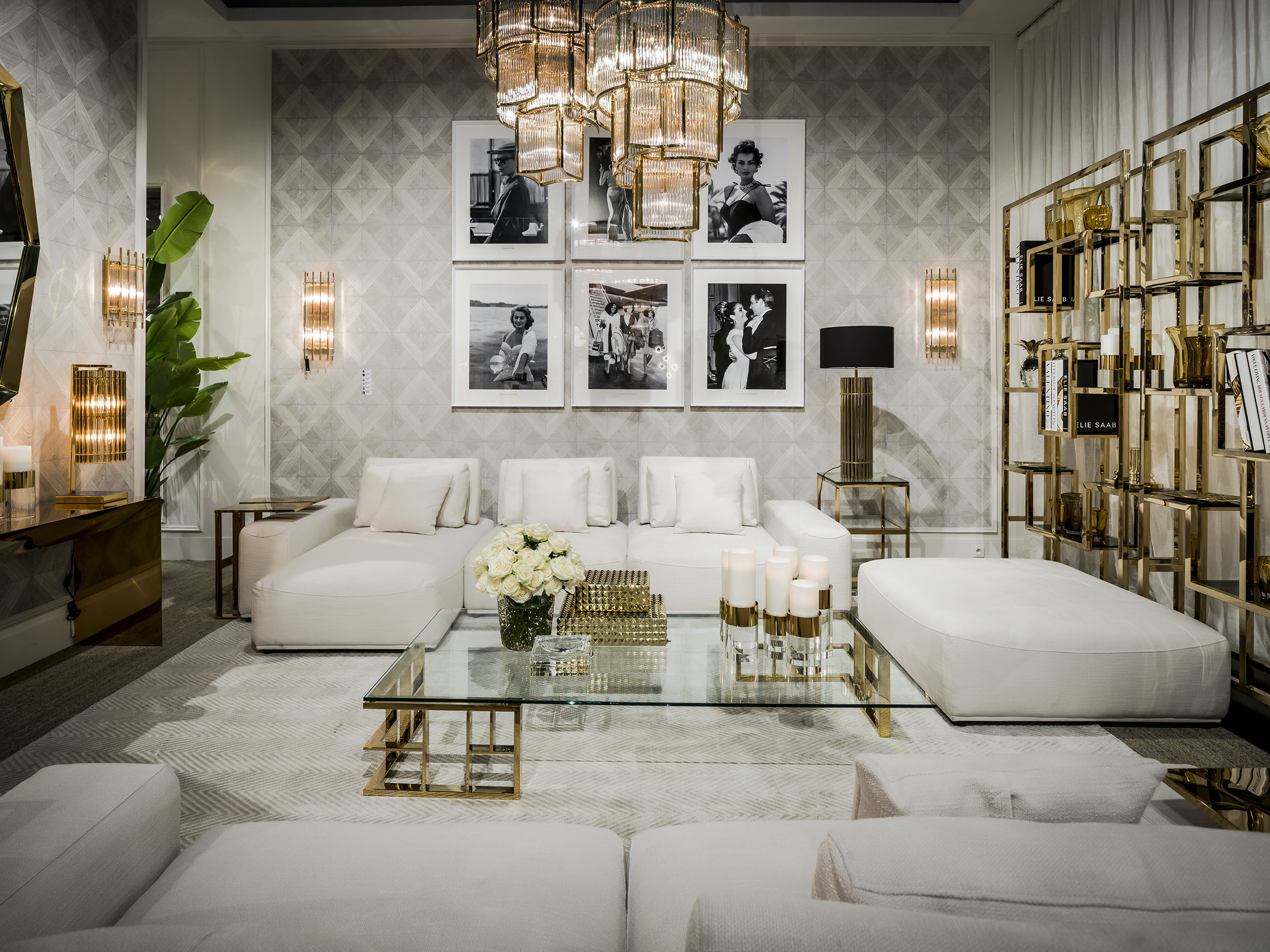 luxury living set with gold details, white comfy fabric sofa low with no legs, centre luxury gold detailed coffee table, luxury gold bookcases, xriso kentriko trapezaki me xrisi vivliothiki kai xamilo aspro kanape,