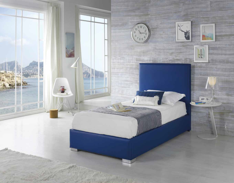 kids bed, blue colourful silver legs, single kid bed blue color high headboard silver block legs, mple krevati morou paidiou me asimenia podia,