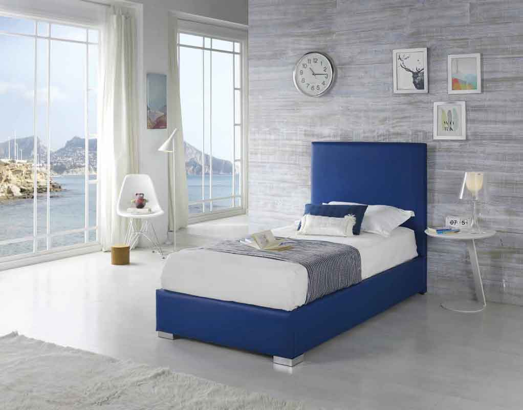kids bed, blue colourful silver legs, single kid bed blue color high headboard silver block legs, mple krevati morou paidiou me asimenia podia,