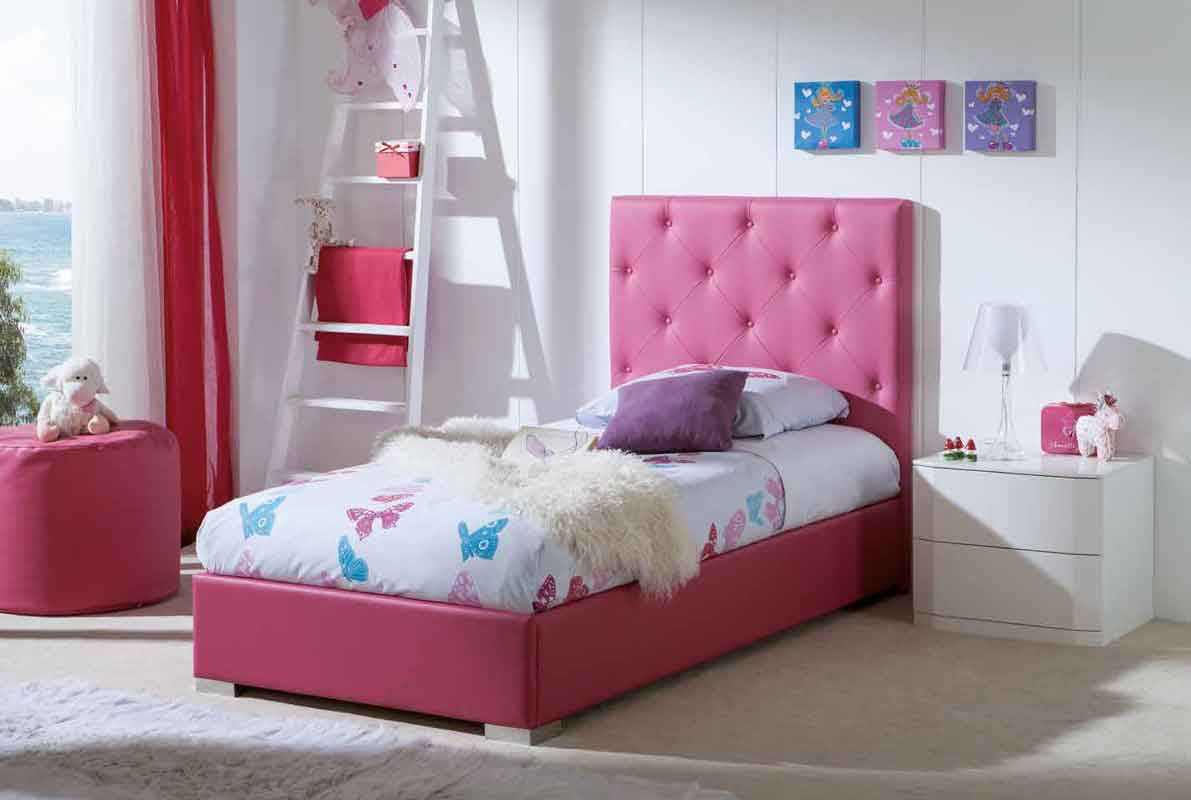 pink single bed with silver block legs, roz krevati paidiko me asimenia podia, koritsistiko domatio krevati paidiko, girly bed,