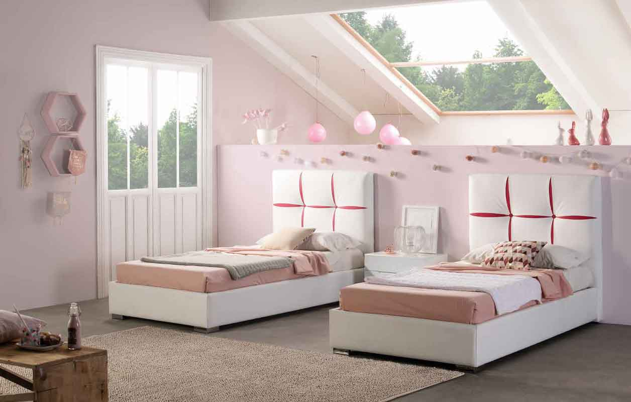 single beds leather white with red seams silver legs, aspro dermatino paidiko krevati me kokkines grammes asimenia podia, total white single kid bed with silver legs,