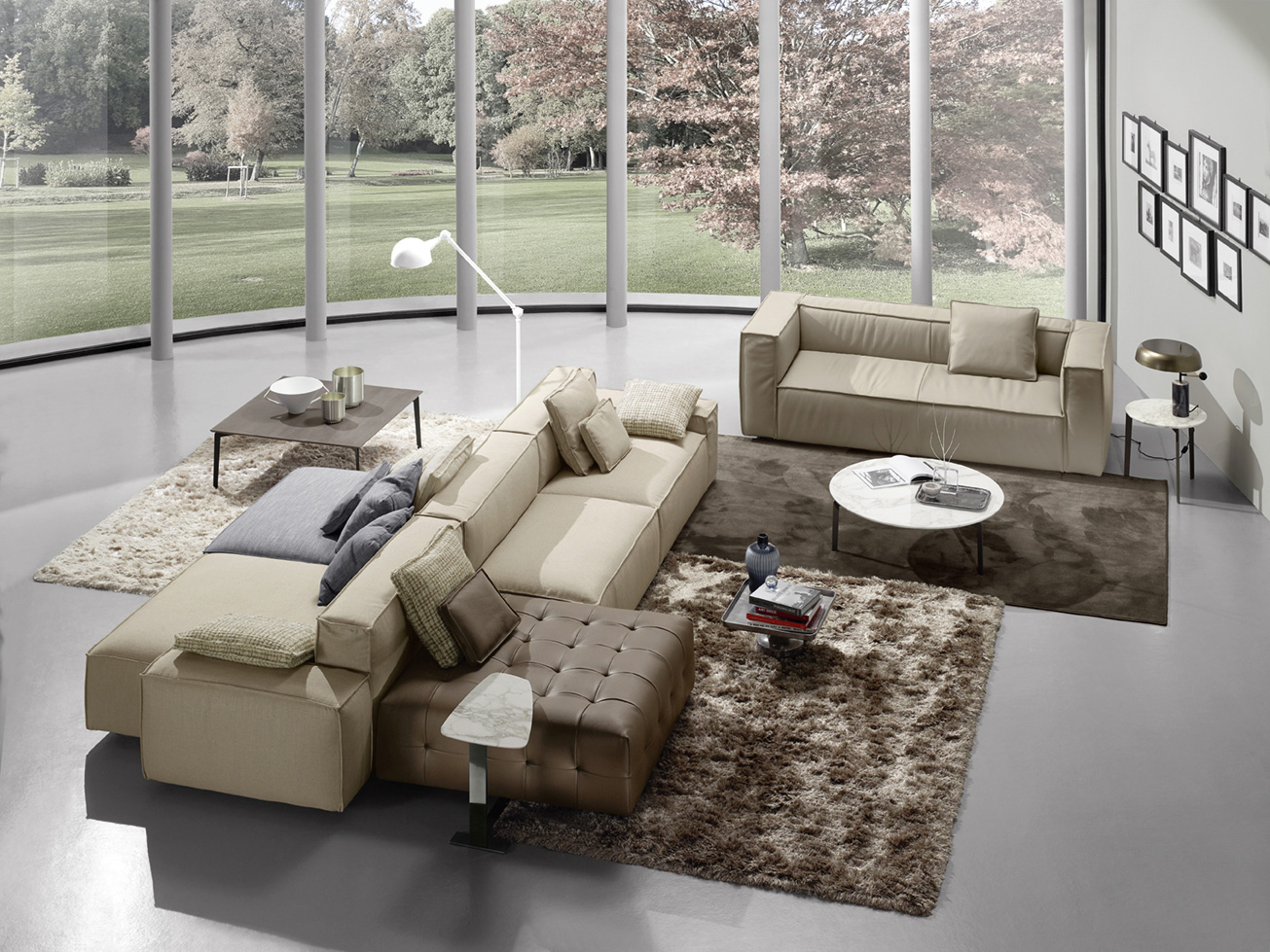 double side colorful leather sofa, brown beige blue sofa that can be adjustable to all textures and colors, beige leather sofa 3-seater, marble circular table, marble side table, marmarino kentriko trapezaki,