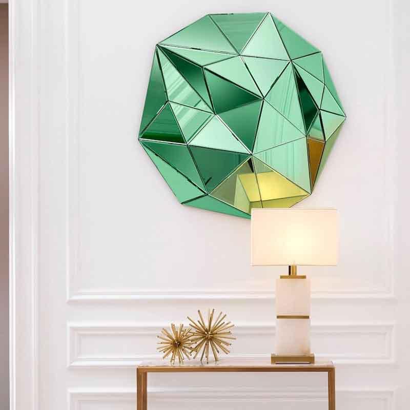 green extreme mirror, table lamp gold, accessories gold, wooden small console, konsola xilini mikri, prasinos kathreftis paraxenos,