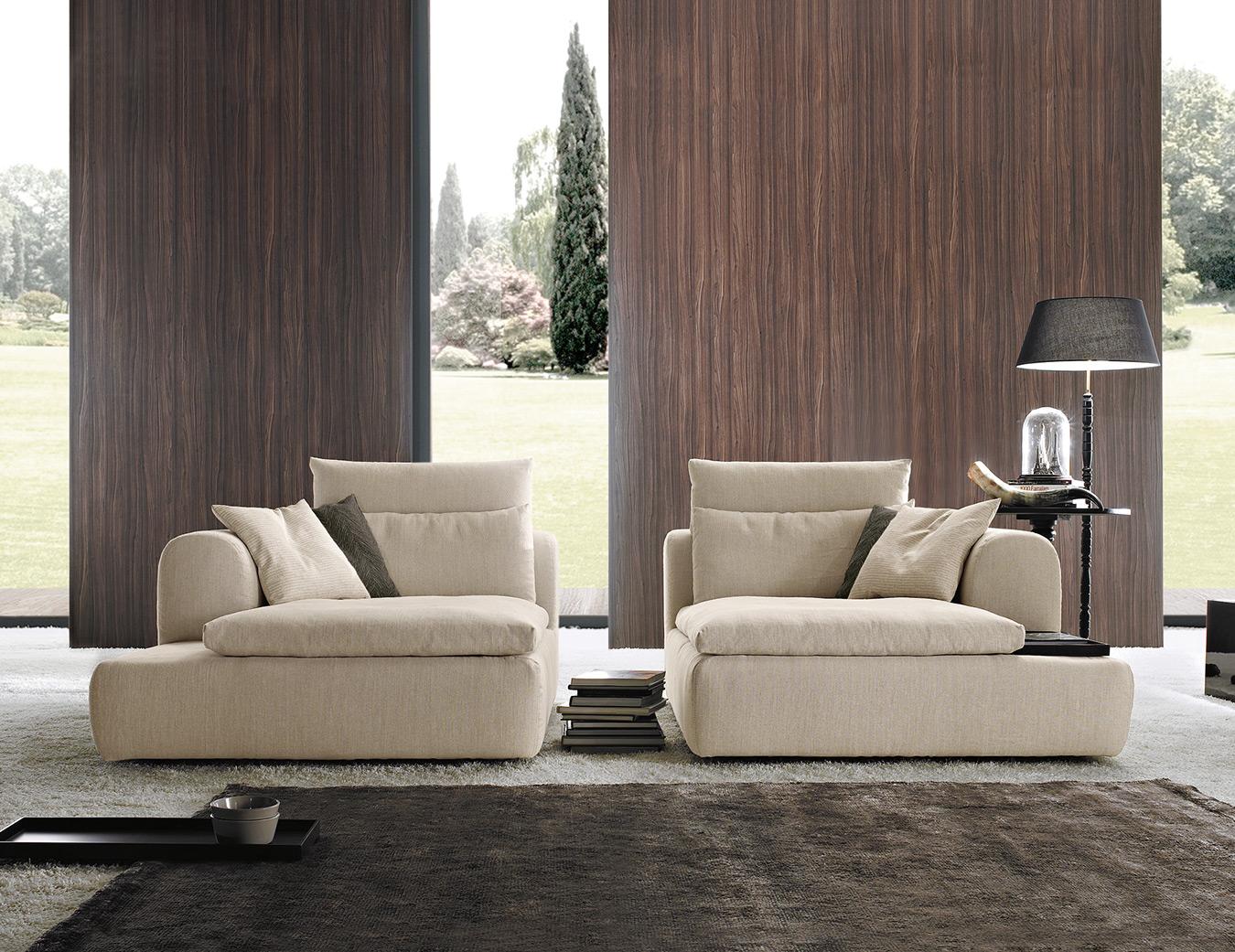 sofa in pieces, kanapes pou mpori na spasi se diaforetika kommatia, beige fabric 2-seater sofa in pieces that can be used as armchairs,