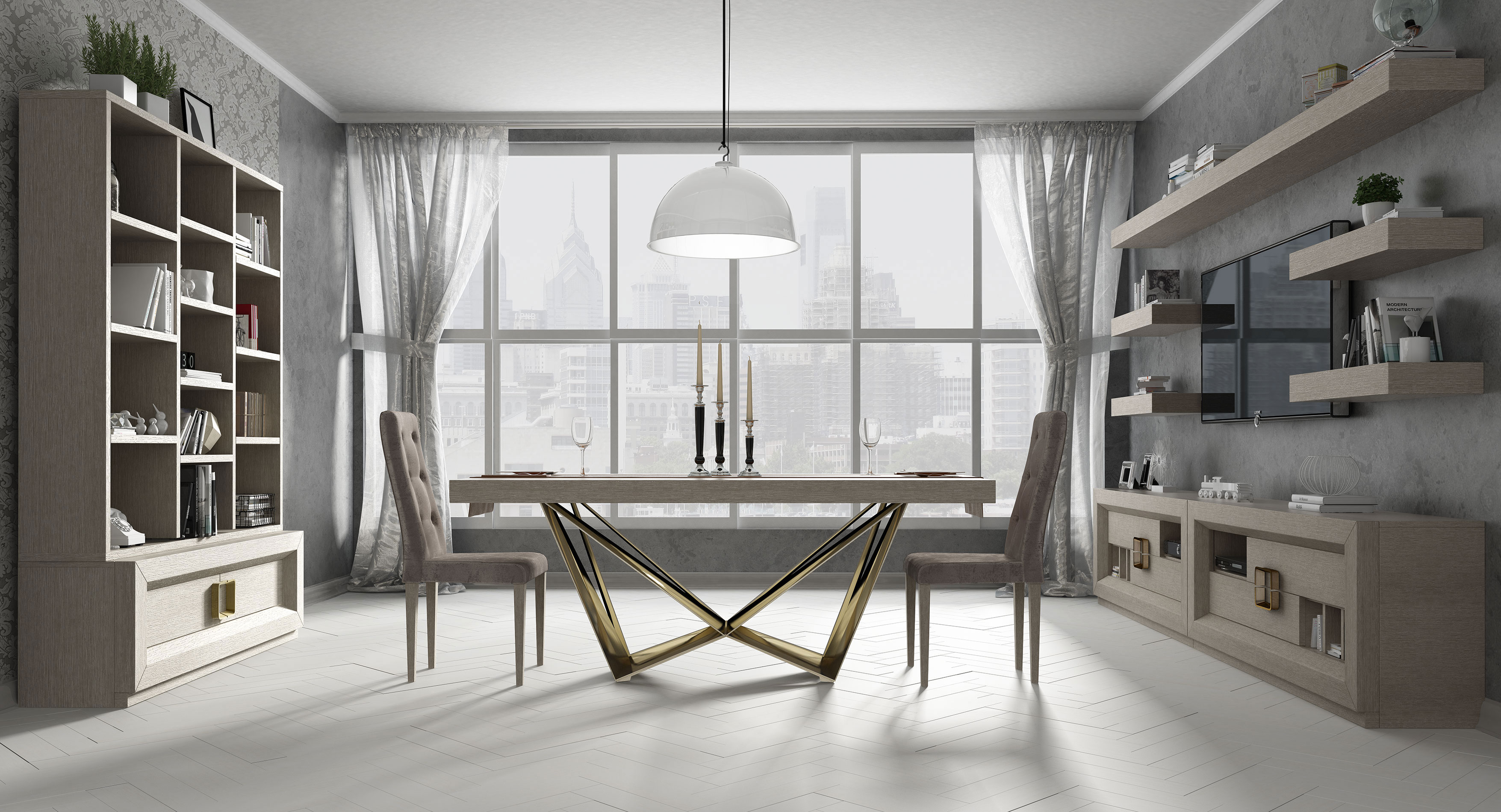 table, modern table, gold legs table, white table, trapezi, chairs, white chairs, karekles, console, konsola, bookshelf, dining table, kitchen table, andreotti, andreotti furniture, epipla, furniture, limassol, cyprus