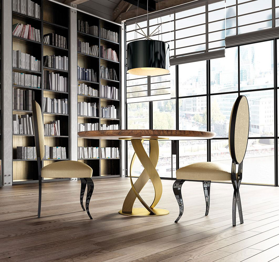 table, modern table, gold legs table,round table, trapezi, chairs, beiz chairs, karekles, bookshelf, dining table, kitchen table, andreotti, andreotti furniture, epipla, furniture, limassol, cyprus