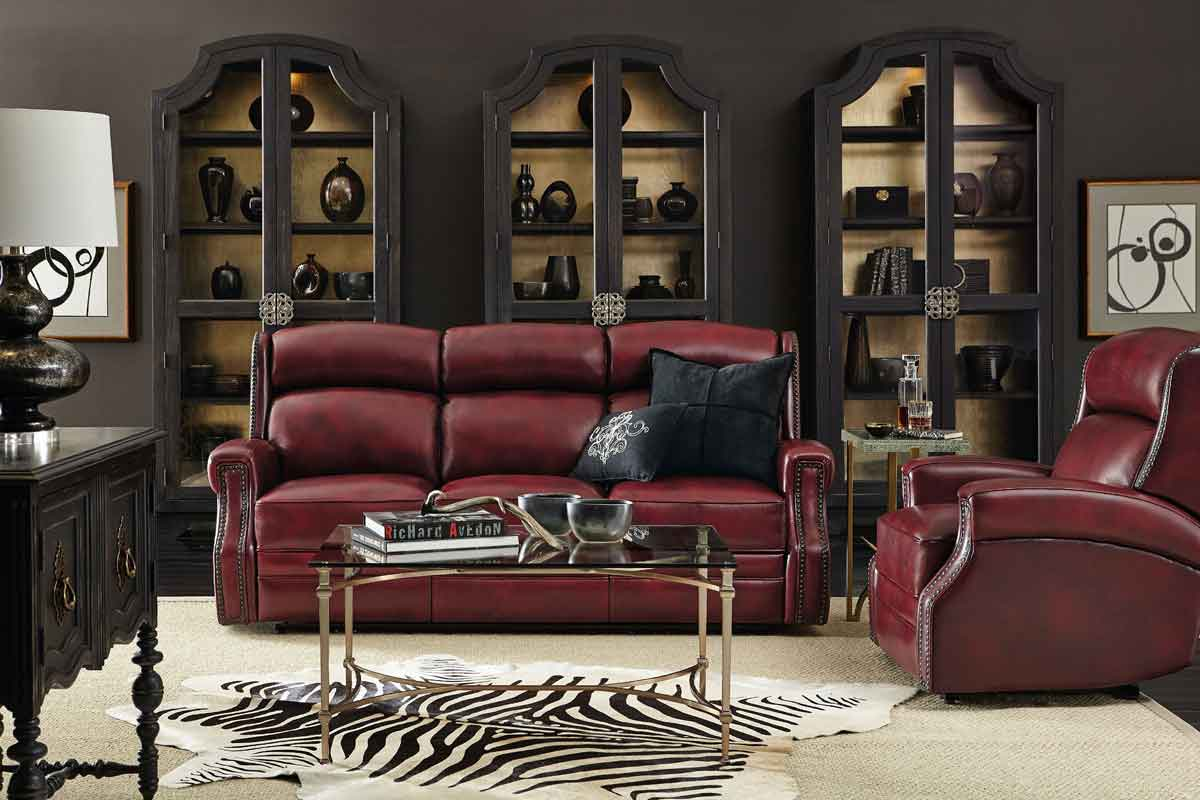 leather red 3 seater sofa comfy high in neck, gold simple minimal design coffee table, red leather armchair comfy high neck,
