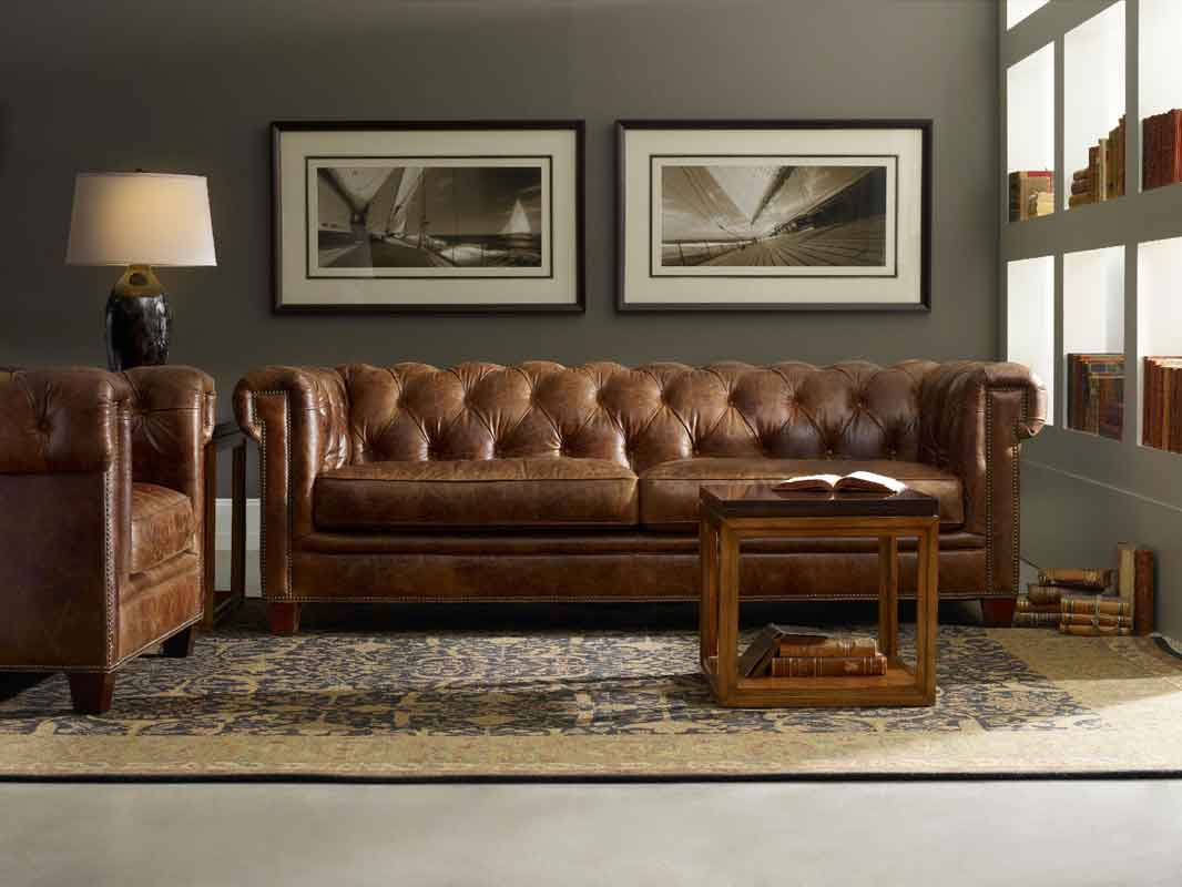 leather brown capitone 4 seater sofa, classic vintage leather sofa,