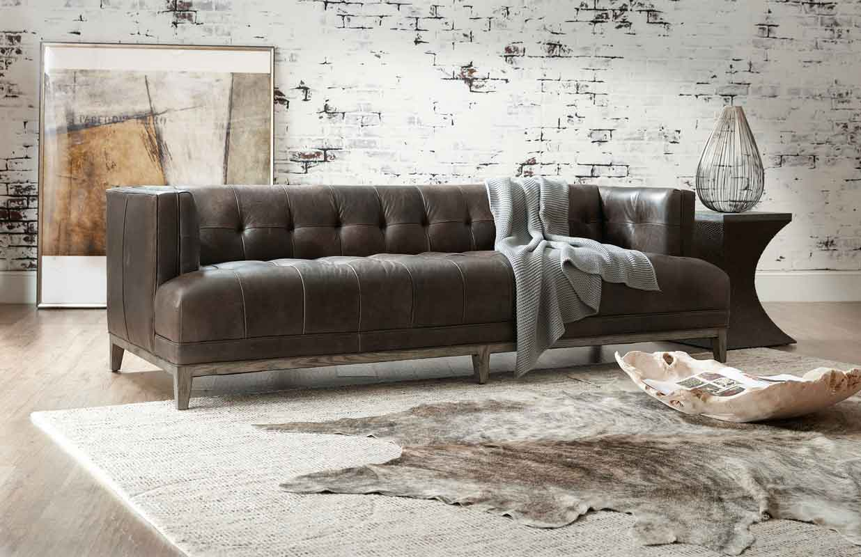 leather dark brown with grey wooden legs, vintage sofa classic and modern,
