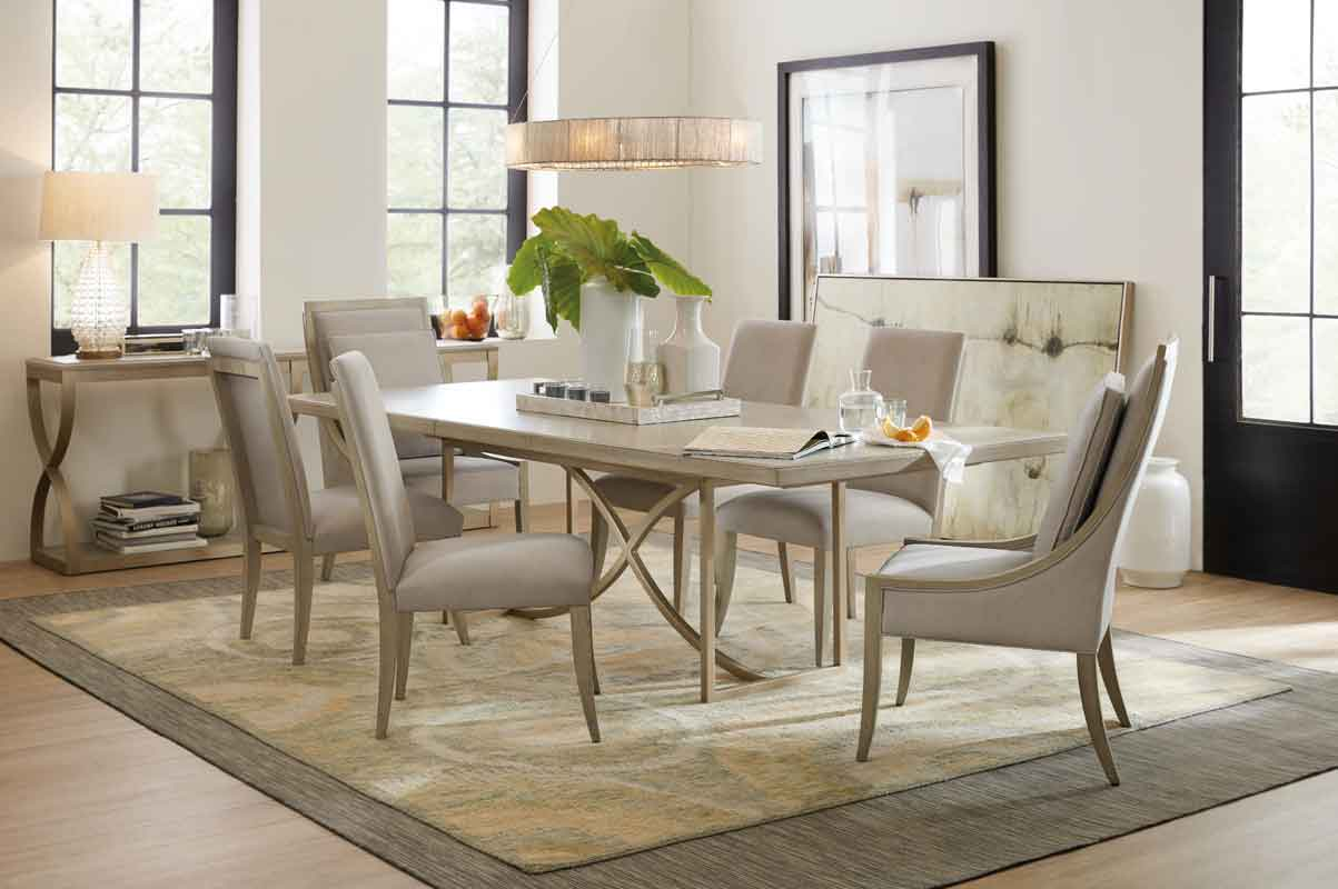 clean minimal modern design beige colors rectangular table with minimal design chairs wooden and grey fabric,