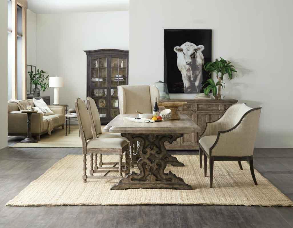vintage antique design dinning set, vintage rectangular grey wooden dinning table with vintage design chairs,