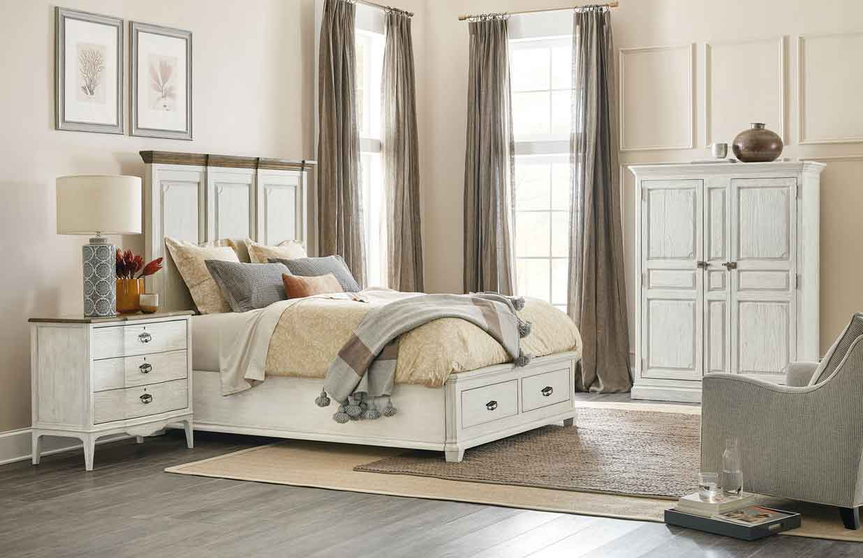 vintage design white wooden bed with space on its bottom, xilino aspro krevati me psili kefalaria kai xoro sto kato meros tou krevatiou,