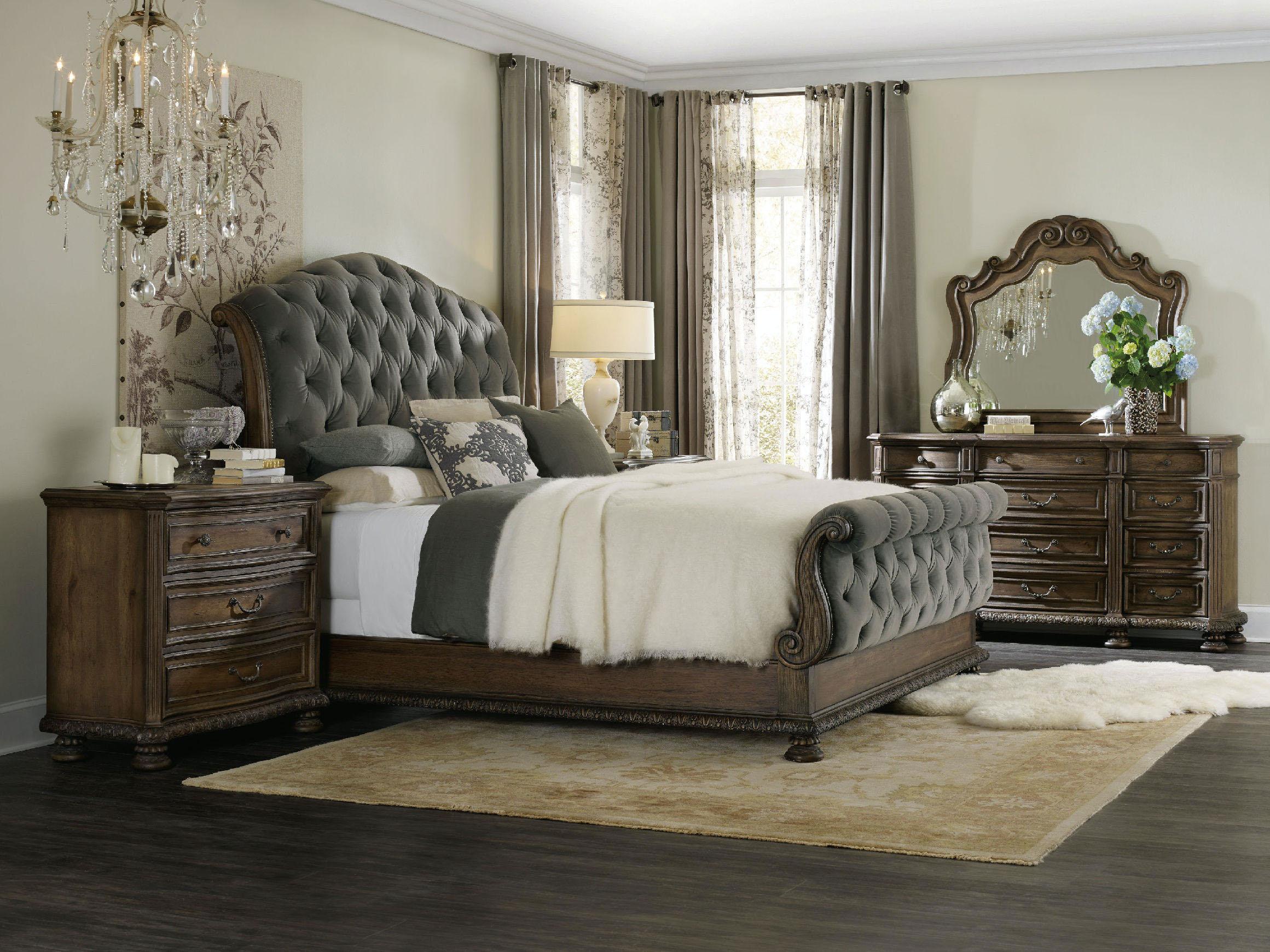 brown classic style capitone grey fabric bed with high headboard and brown legs, klassiko kapitone krevati me xilina podia kai klassiko design,