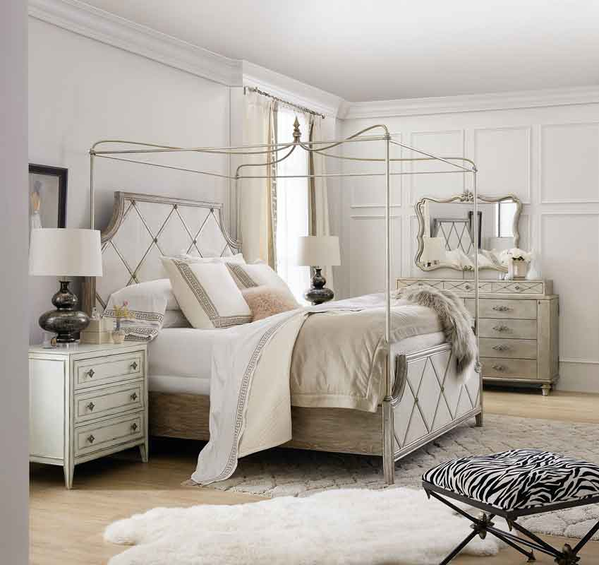 king size vintage style bed with modern details white and grey wooden design on its headboard, four poster bed, krevati me sklouveria gkrizo xilino me aspres leptomeries,