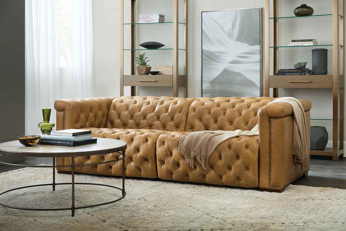 orange brown leather capitone 3 seater sofa, kamelo oxra kanapes tritheseos palios, vintage style capitone 3 seater sofa,