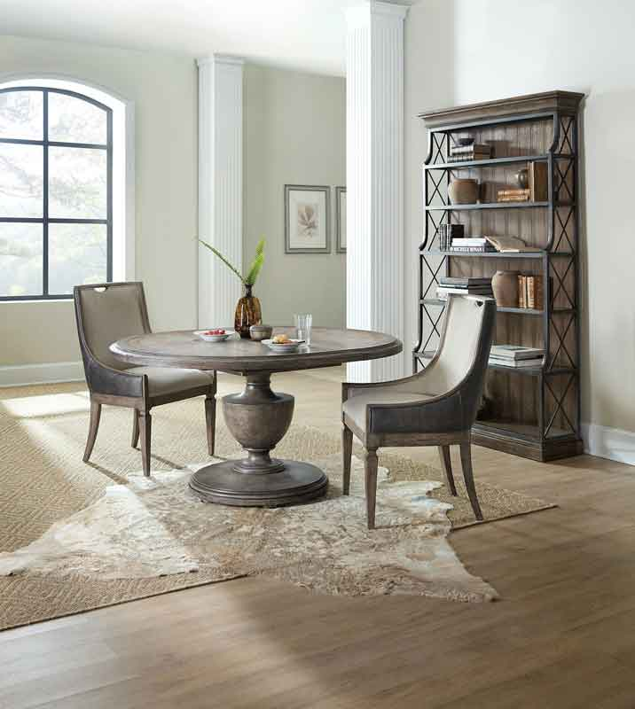 circular wooden vintage style dinning table, minimal simple design chair with arms,