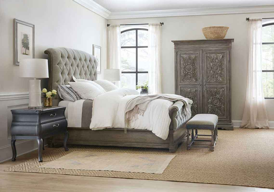 brown classic style capitone grey fabric bed with high headboard and brown legs, klassiko kapitone krevati me xilina podia kai klassiko design,