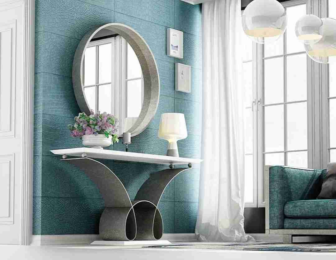 mirror, kathreftis, round, accessories, small konsole, silver and white, lamb stand, andreotti, furniture, cyprus, limassol, epipla